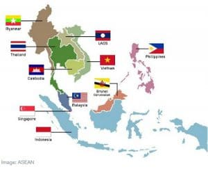 Destinations all around Asia in ASEAN map