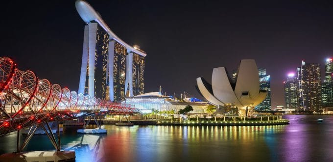 Accessible Singapore night skyline